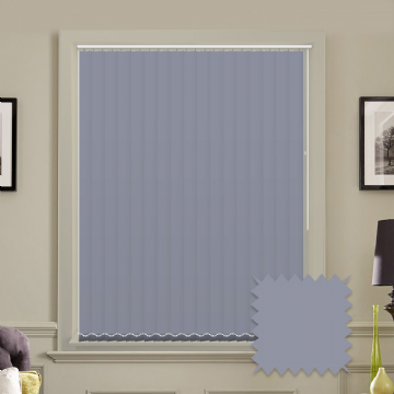 Lavender Made to measure vertical blinds in Carnival Cornflower plain FR / Antibacterial fabric